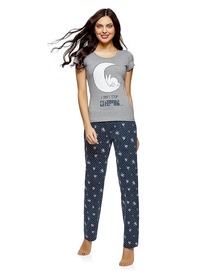 oodji Ultra Mujer Pijama de Algodón con Pantalones, Azul, ES 36 / XS: Amazon.es: Ropa y accesorios