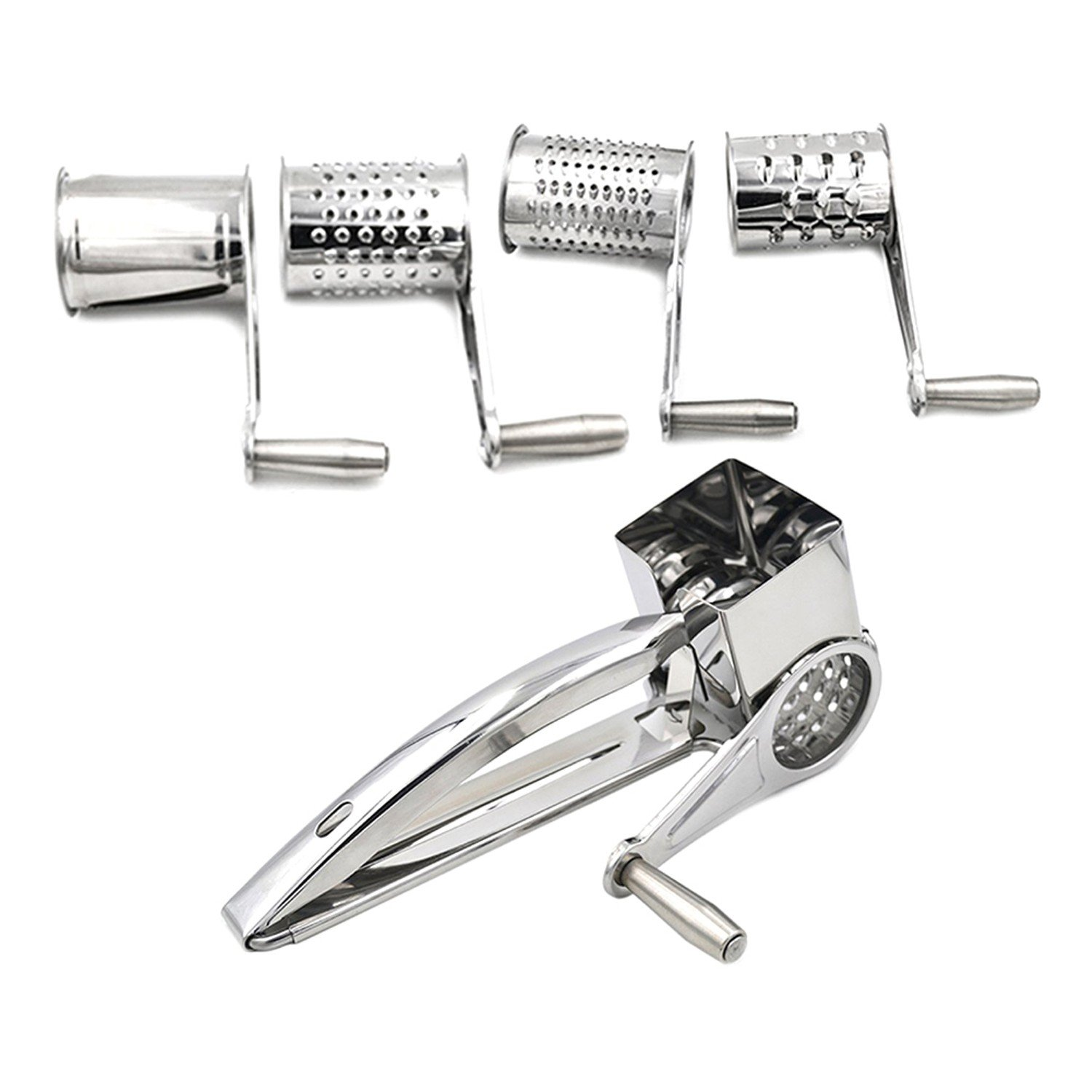 4 Drums Blades/Set Rotary Cheese Grater Stainless Steel Cheese Slicer Shredder Kitchen Butter Cutter