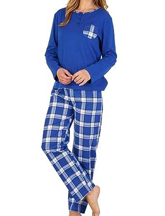abc6adb93d Slenderella Ladies 100% Cotton Tartan Pyjamas Long Sleeve Top   Checked  Bottoms UK 10