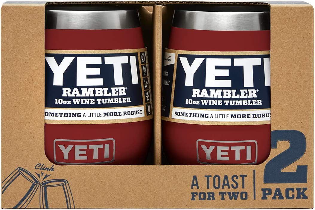 YETI Rambler 10 oz Wine Tumbler, Vacuum Insulated, Stainless Steel, 2 Pack