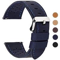 Fullmosa 5 colori per cinturino di ricambio, Breeze cinturino in pelle per orologio da donna e uomo,adatto a orologio tradizionali e smart watch di18mm,20mm,22mm o 24mm,18mm Blu Scuro