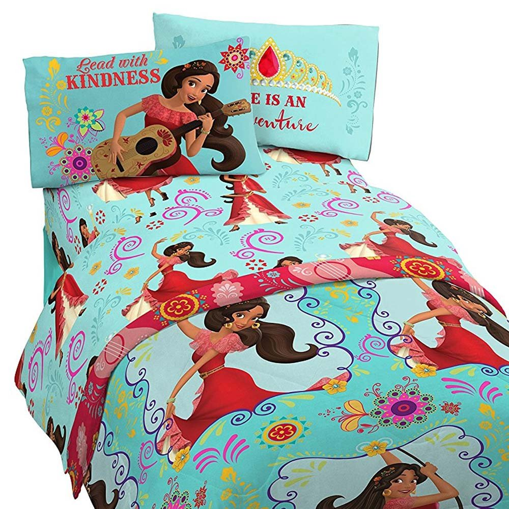 4pc Elena of Avalor Twin Bedding Set Disney Princess Flower Power Comforter and Sheets