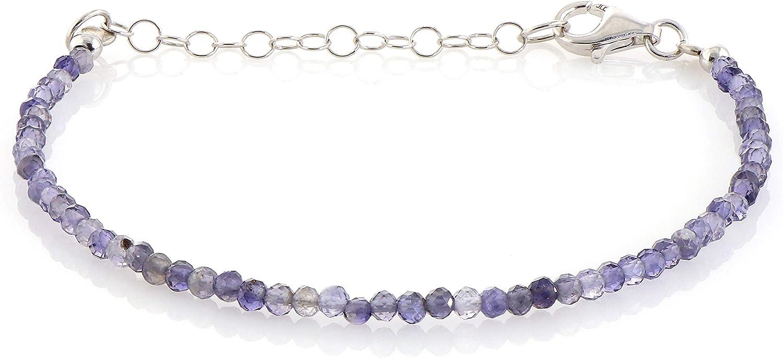 Pulsera iolita sombreada con cierre de cadena de plata de ley, pulseras de piedras preciosas para mujeres, joyas de zafiro de agua, regalo para mamá, joyería de plata de ley iolita