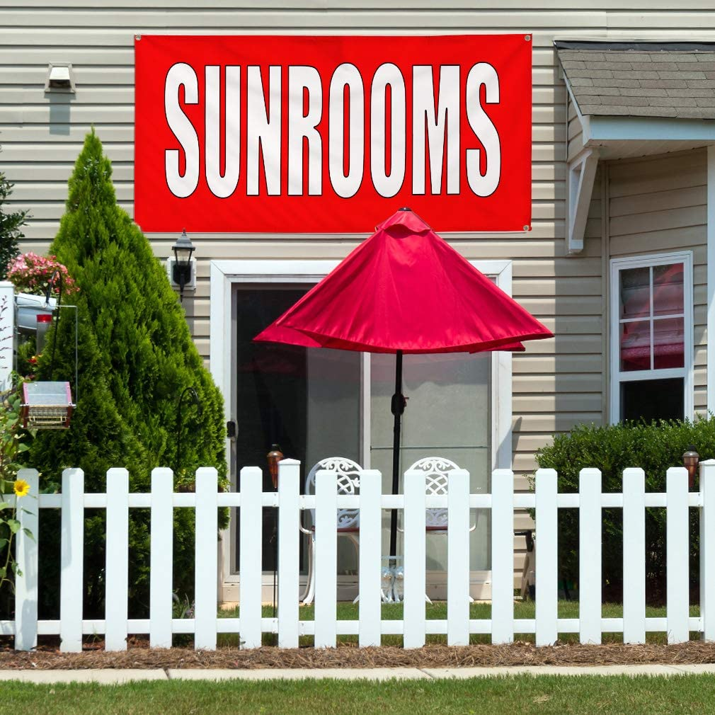Vinyl Banner Multiple Sizes Sunrooms Red Home Remodeling Business Outdoor Weatherproof Industrial Yard Signs Red 10 Grommets 60x144Inches