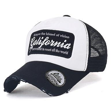 separation shoes 4785e 35a3a ililily California Embroidery Vintage Distressed Mesh Trucker Hat Baseball  Cap, Black  Amazon.co.uk  Clothing
