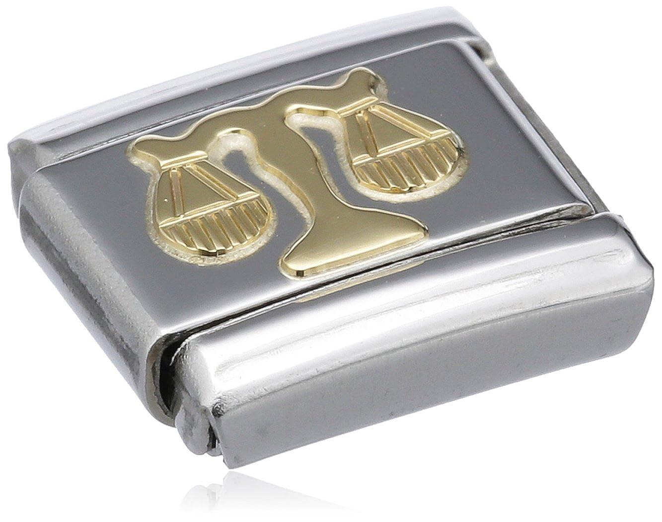 Maillon pour bracelet composable Mixte Nomination Balance 030104 Acier inoxydable et Or jaune 18 cts Signe astrologique