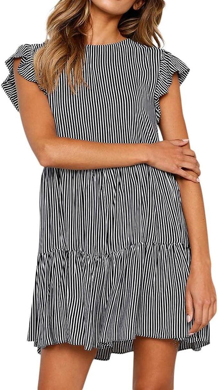 Amphia Frauen Rüschenärmel Hohe Taille V-Ausschnitt Streifen Print  Minikleid Plissee Kleid,Damen Sommerkleid Rüschenärmel Knielang Strandkleid