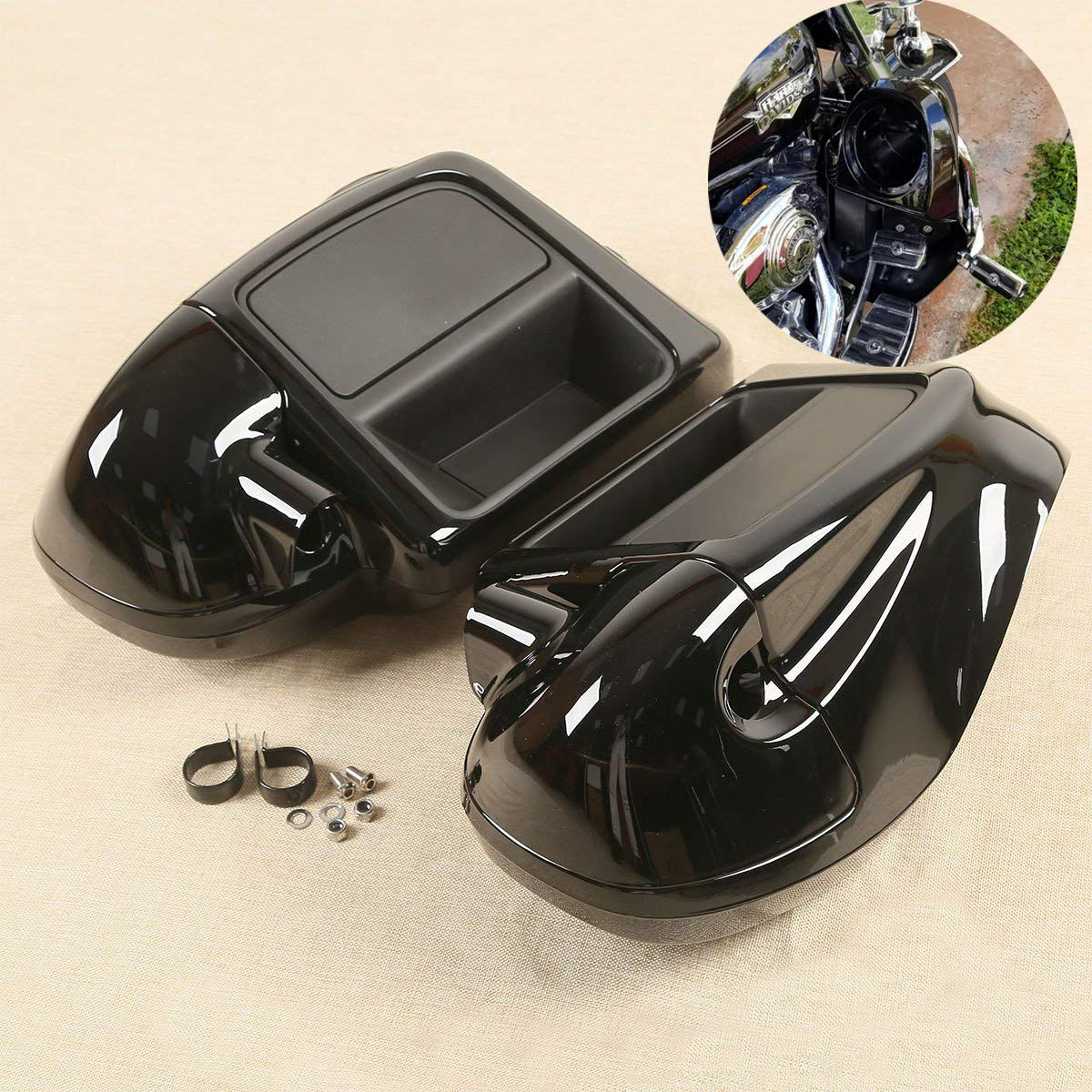 XFMT Motorcycles Lower Vented Fairing W/ 6.5'' Speaker Box Pod Compatible with Harley Touring Road King, Street Glide, org equipment on FLHTCU 2014-2019