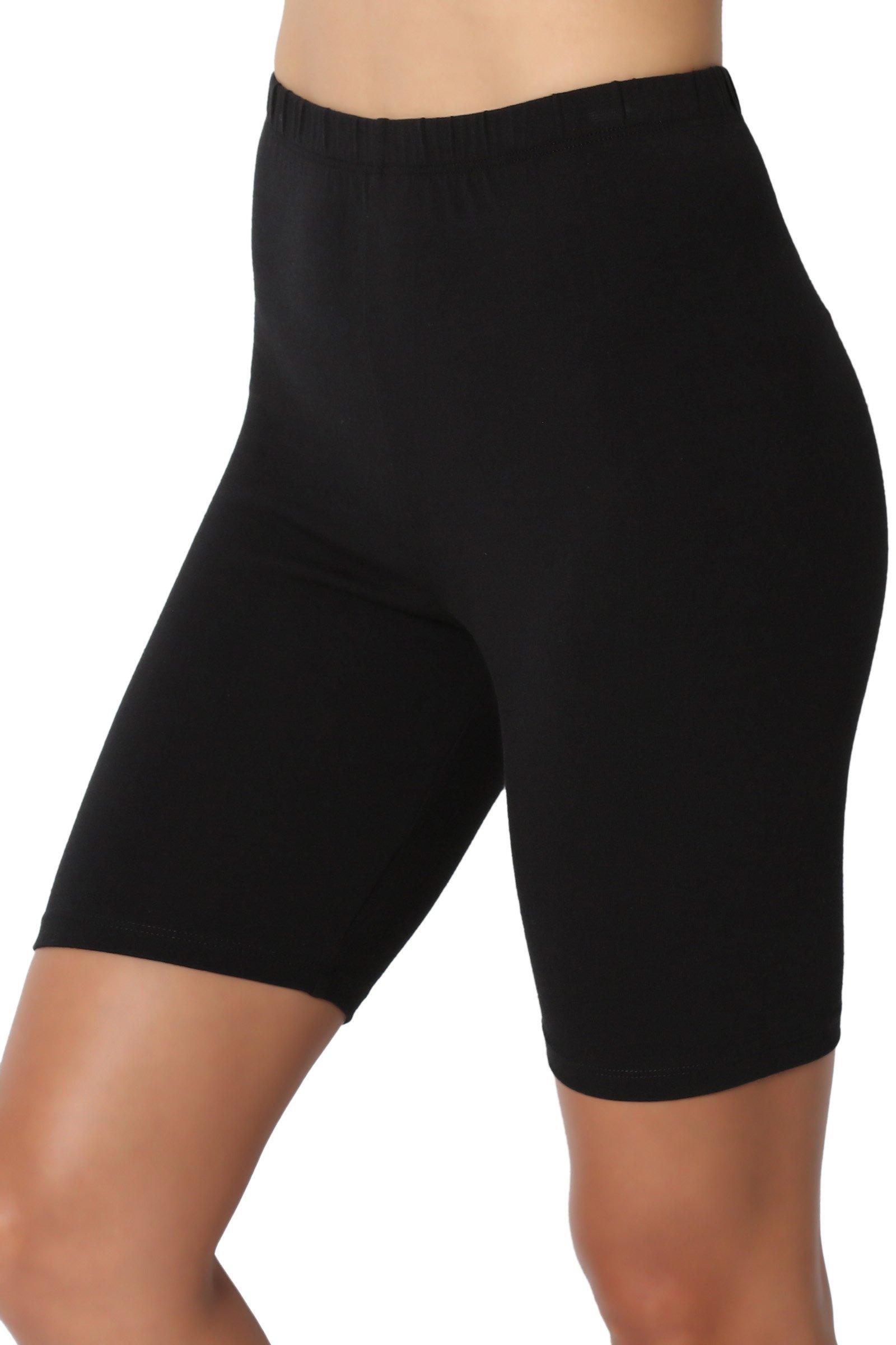 TheMogan Women's Mid Thigh Cotton High Waist Active Short Leggings Black M
