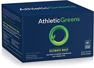 Athletic Greens Ultimate Daily, Whole Food Sourced All in One Greens Supplement, Superfood Powder, Gluten Free, Vegan and Keto Friendly, NSF Certified, Travel Packs (30 Individual Packs)