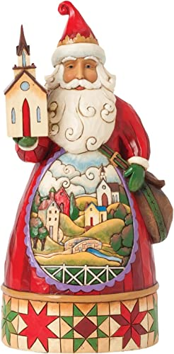Jim Shore for Enesco Heartwood Creek Santa with Church Figurine, 8.75-Inch