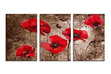 Amazon.com: YPY Poppy Canvas Wall Art Painting Vintage Abstract ...