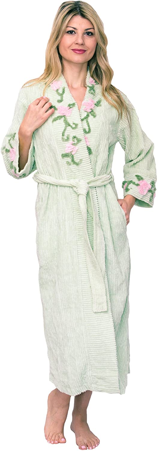 Vintage Nightgowns, Pajamas, Baby Dolls, Robes Bath & Robes Womens Long Embroided Chenille Bathrobe $84.99 AT vintagedancer.com