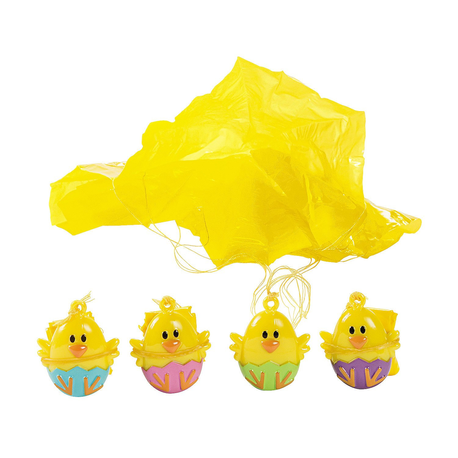 Fun Express - Chick Paratroopers for Easter - Toys - Character Toys - Wind Ups & Paratroopers - Easter - 48 Pieces by Fun Express