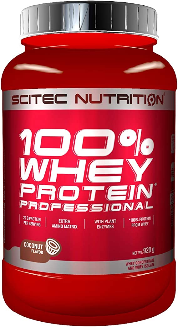 Scitec Nutrition 100% Whey Protein Professional con aminoácidos clave y enzimas digestivas adicionales, 920 g, Coco