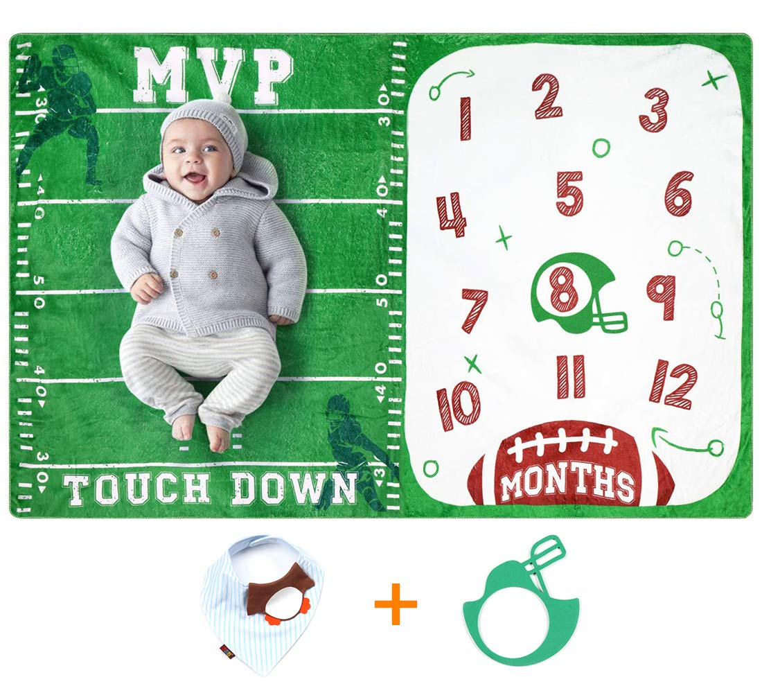 Baby Monthly Milestone Blanket for Baby Boy Photo Blanket for Newborn Baby Shower Football Photography Background Month Blanket Baby Boy Gift,with Bandana Drool Bib and Frame 60x40