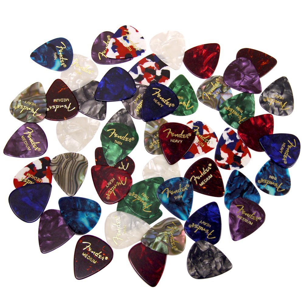 Fender Premium Picks Sampler - 24 Pack Includes Thin, Medium & Heavy Gauges 0989351-24