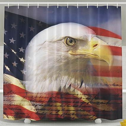 Us Flag Eagle Wallpaper Fashion Shower Curtain Deluxe Waterproof Bath