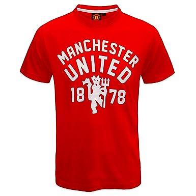 0dcdd27ce71 Manchester United FC - Herren T-Shirt mit Teufelsmotiv - Offizielles  Merchandise - Geschenk für Fußballfans - Rot - S  Amazon.de  Bekleidung