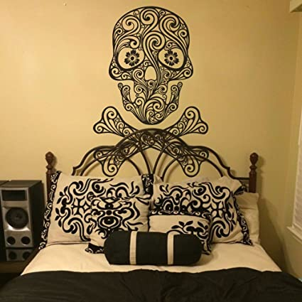 Amazon.com: Sugar Skull Wall Decal Crossbones Wall Sticker Rock and ...