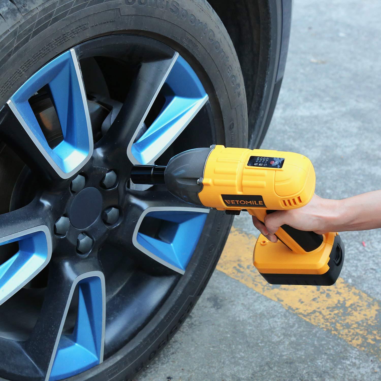 2 Steckn/üsse von 17mm//19mm und 21mm//23mm ideal zum Reifenwechsel usw. mit Akku Ladeger/ät und Kiste Vetomile Akku Schlagschrauber 1//2 Zoll,18V 400Nm 1,5Ah