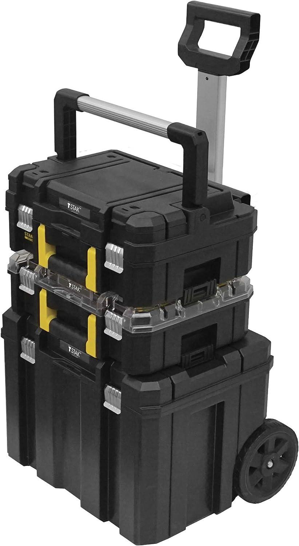 STANLEY FATMAX FMST1-80103 - Conjunto TSTAK 3 piezas con cajas para herramientas, organizador y base con ruedas