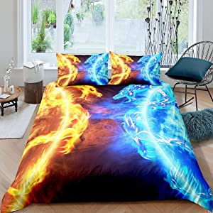 Ice Fire Dragon Comforter Cover Set for Boys Teens Kids Oriental Beast Printed Bedding Set Eastern Duvet Cover Set Auspicious Animals Fairy Tale Theme Room Decor 3Pcs Bedclothes Queen Size