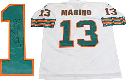 reputable site 4a84a 74b27 Dan Marino Autographed Miami Dolphins Throwback Jersey at ...