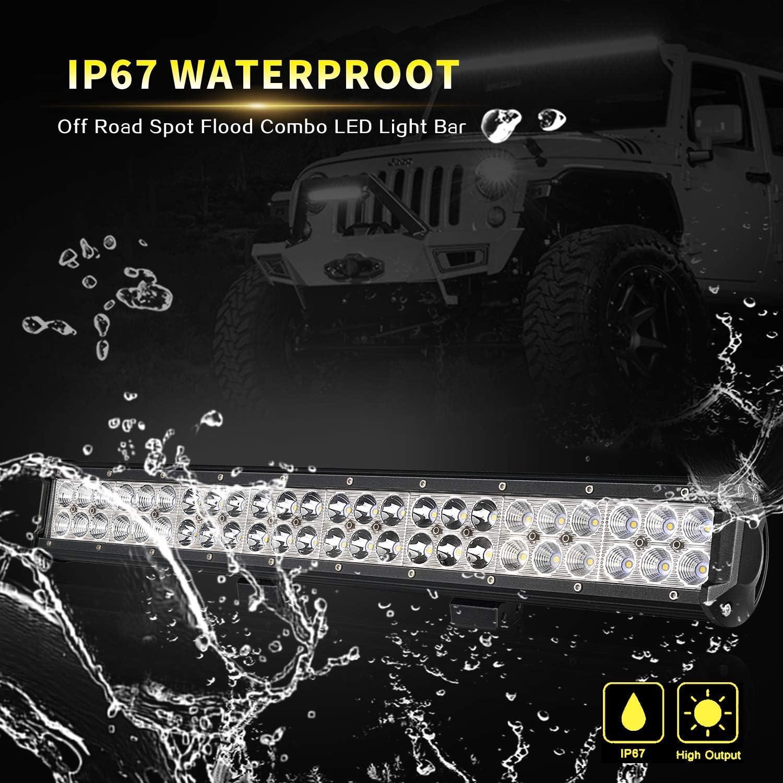 4WD AUSI 23 pulgadas 144 W Off Road Barra de luz LED Spot inundaci/ón Combo haz doble fila Led luz de trabajo conducci/ón niebla l/ámpara con soporte de montaje para ATV barco cami/ón