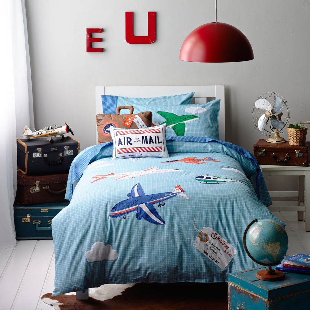 Auvo Kids Bedding Set, Airplane Craft Helicopters Boys Duvet Cover Set (Twin, 2 Pieces)