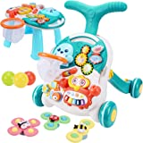 Meryi Sit-to-Stand Walker with Activity Center – Multifunctional Baby Push Walker with Interactive Learning Table– Early Lear