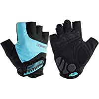 SANTIC Classic Fingerless Cycling Gloves with Shock-Absorbing Foam Pad Breathable Half Finger Moutain Bike Bicycle…