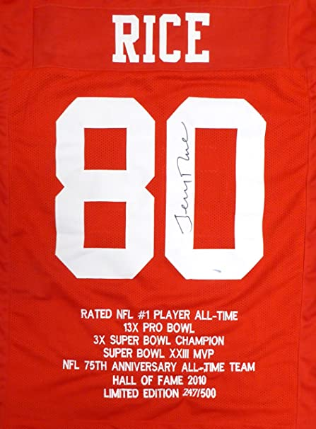 free shipping 9923e 4ad6c SAN FRANCISCO 49ERS JERRY RICE AUTOGRAPHED RED JERSEY WITH ...