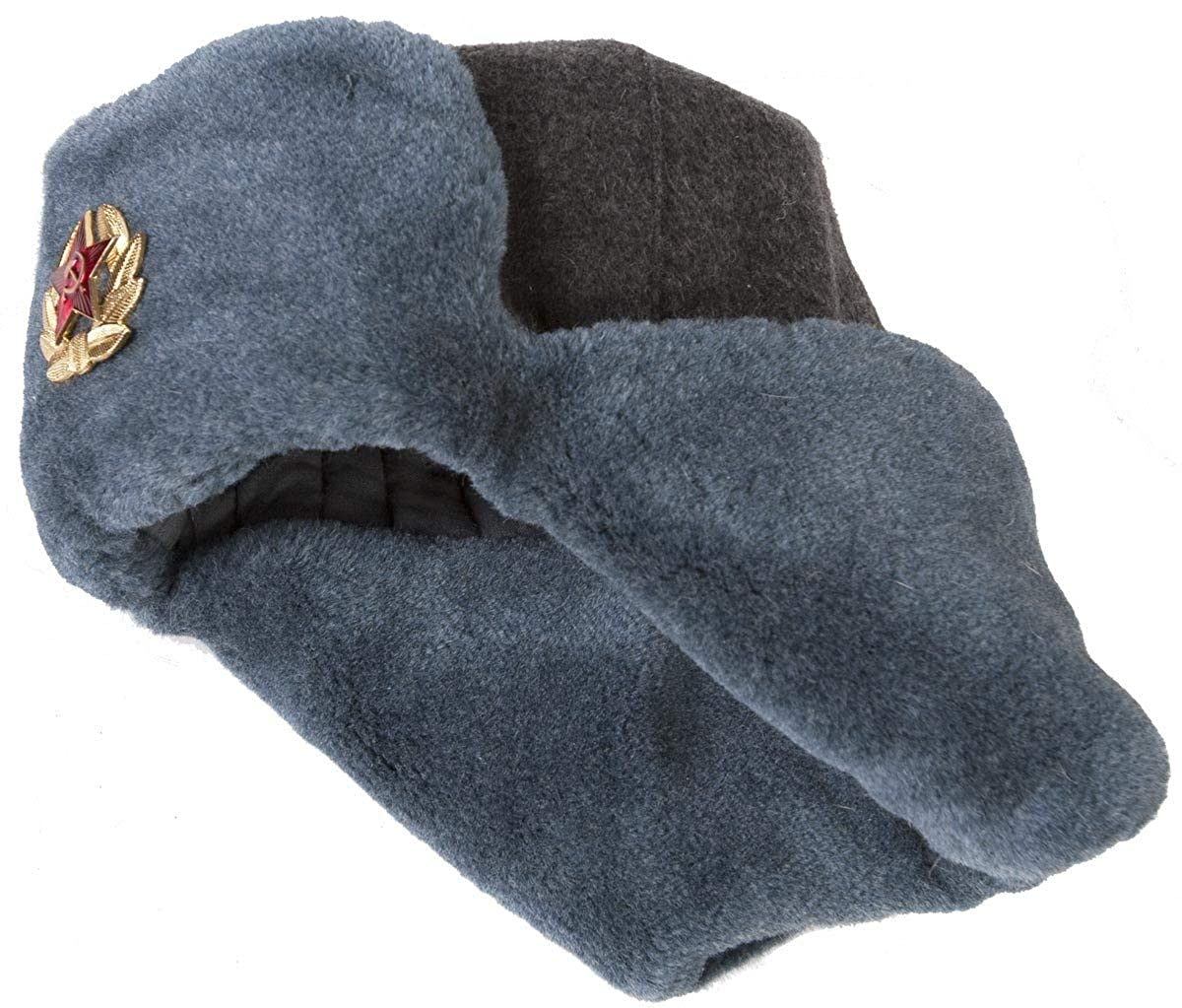 484aaa086a0b18 Authentic Russian Army Ushanka Winter Hat, with Soviet Army soldier  insignia at Amazon Men's Clothing store: Cold Weather Hats