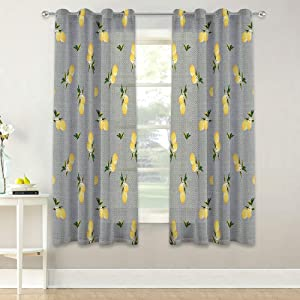 KGORGE Botanical Floral Yellow Lemon Printing Sheer Curtains, Fresh Privacy Linen Blend Voile Drapes for Kitchen/Bedroom/Cafe/Farmhouse Village, 50 in x 63 in, 2 Panels, Dove Grey Background