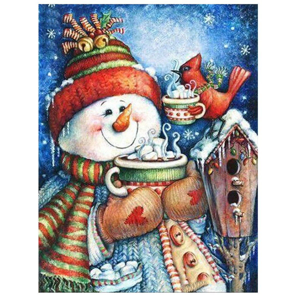 Diamond Painting Christmas and Halloween House Decoration Snowman Bird Cup Tea Gift Full Square Resin Rhinestone Diamond Needlework Handcraft Multi-Size (Picture Size16x21cm) Golden Panno