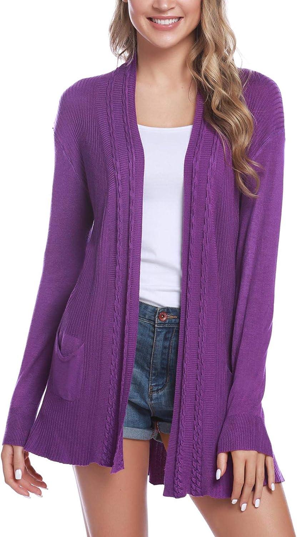 Sykooria Cardigan Longue l/égere Loose-Fit pour Femme Cardigan confortable en tricot