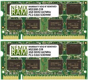 4GB 2X2GB NEMIX RAM Memory for Apple MacBook Pro Late 2006 - Late 2008 Pre-unibody