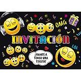 """2ad7606f1f2 Edition Colibri 10 Invitaciones cumpleaños Infantil en español """"EMOTICONOS"""":  Juego de 10 Invitaciones"""