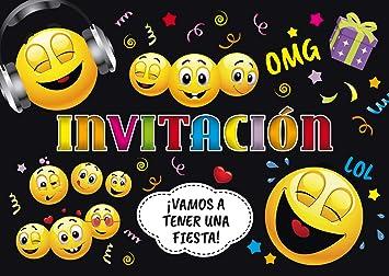 """Edition Colibri 10 Invitaciones cumpleaños Infantil en español """"EMOTICONOS"""": Juego de 10 Invitaciones graciosas Tipo Smiley (11016 ES)"""