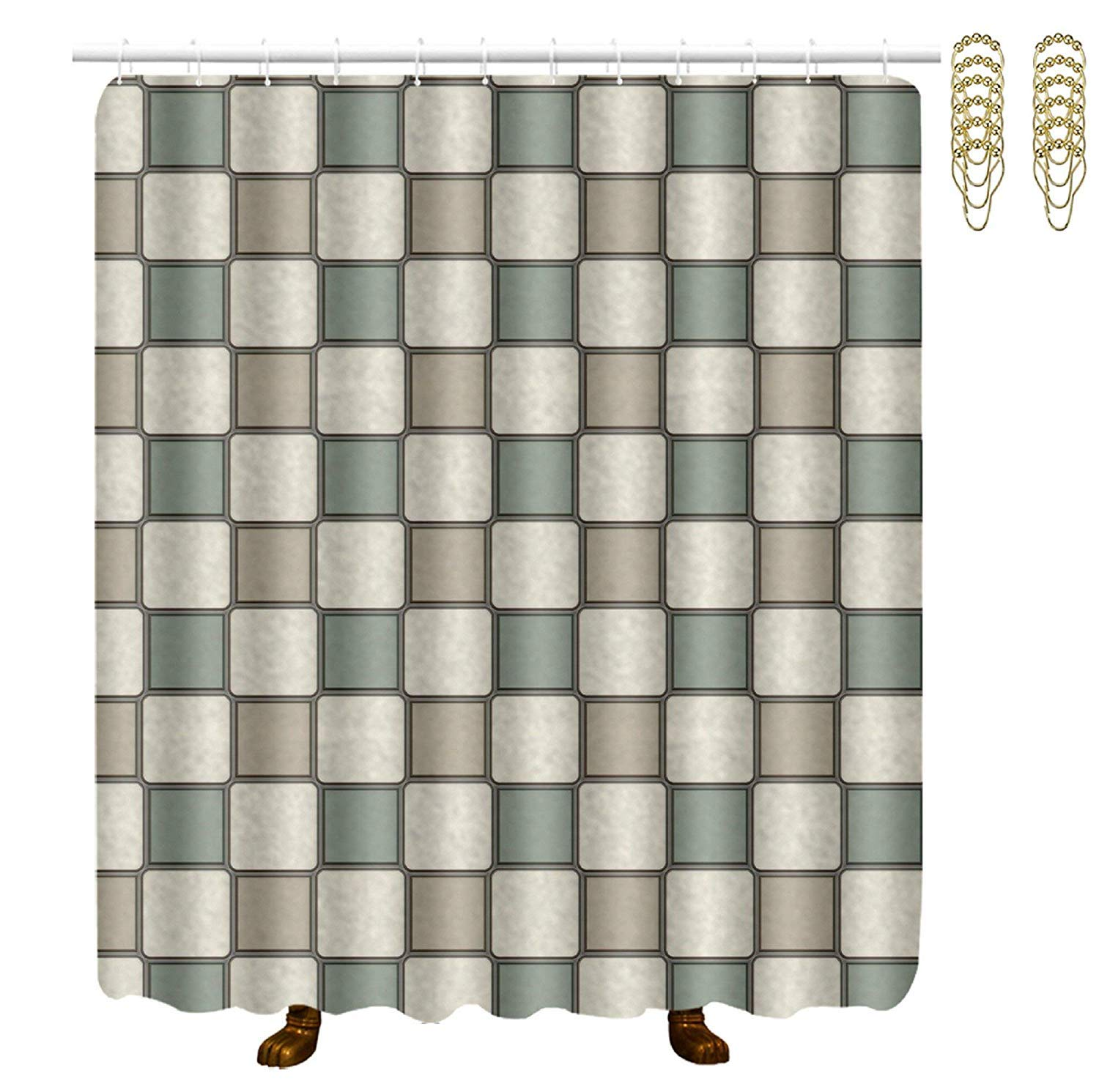 COVASA Decorative Water Repellant Shower Curtain 72x72 Inches Comes with 12 Hooks (Abstract Geometry Simple Block)