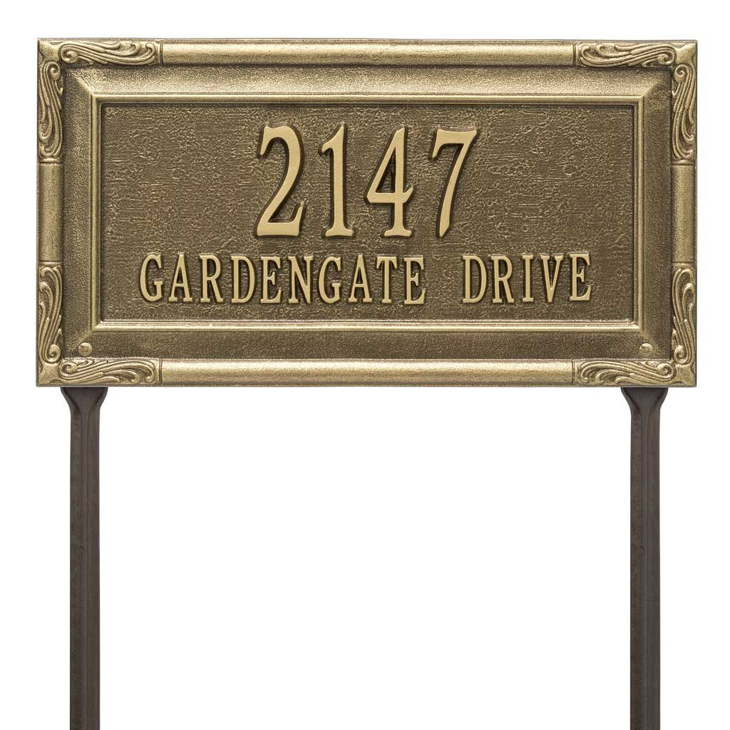 Personalized Cast Metal Address plaque display your address and street name - Lawn mount - stakes included - # P2832l2 Comfort House Custom House Number Sign by Comfort House