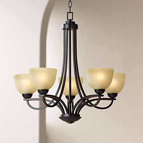 "Bennington Italian Bronze Chandelier 26"" Wide Modern Antique Amber Glass Scroll Arm 5-Light Fixture"