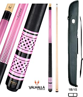 product image for Valhalla VA453 by Viking 2 Piece Pool Cue Stick Linen Wrap, Michigan Maple, Pink Original Artwork, High Impact Ferrule, Nickel Silver Rings 18-21 oz. Plus Cue Case & Bracelet (Pink VA453, 20)