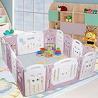 Parque Infantil Bebé Plegable, Corralito Bebé con 14 Paneles Plegable, Valla de Seguridad Plegable / Puerta de Plástico…