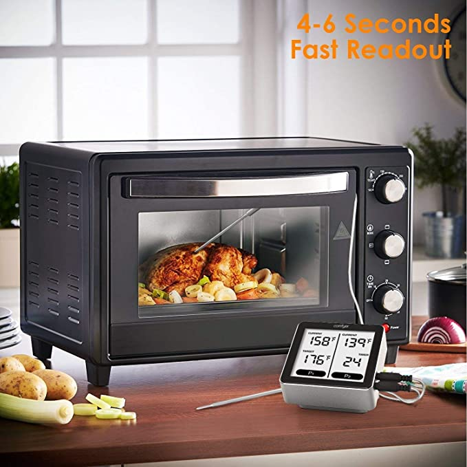 Comfyer - Termómetro digital inalámbrico para cocina, con control remoto, Bluetooth, lectura instantánea, con sondas de acero inoxidable dual, ...