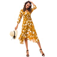 Tsher Women's Deep V-Neck 3/4 Sleeve Beach Holiday Dress Floral Print Flowy Party Dress 0058