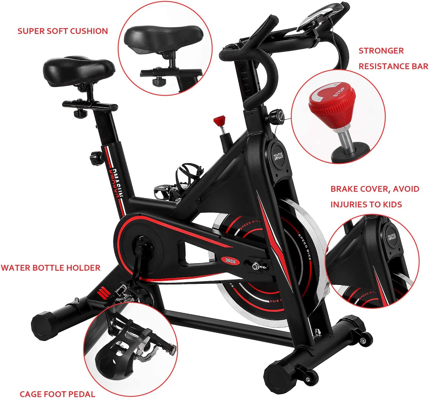 DMASUN Exercise Bike Indoor Cycling Bike Stationary 42Lbs Flywheel Upgraded Version Comfortable Seat Cushion Grips Handlebar Multi Black