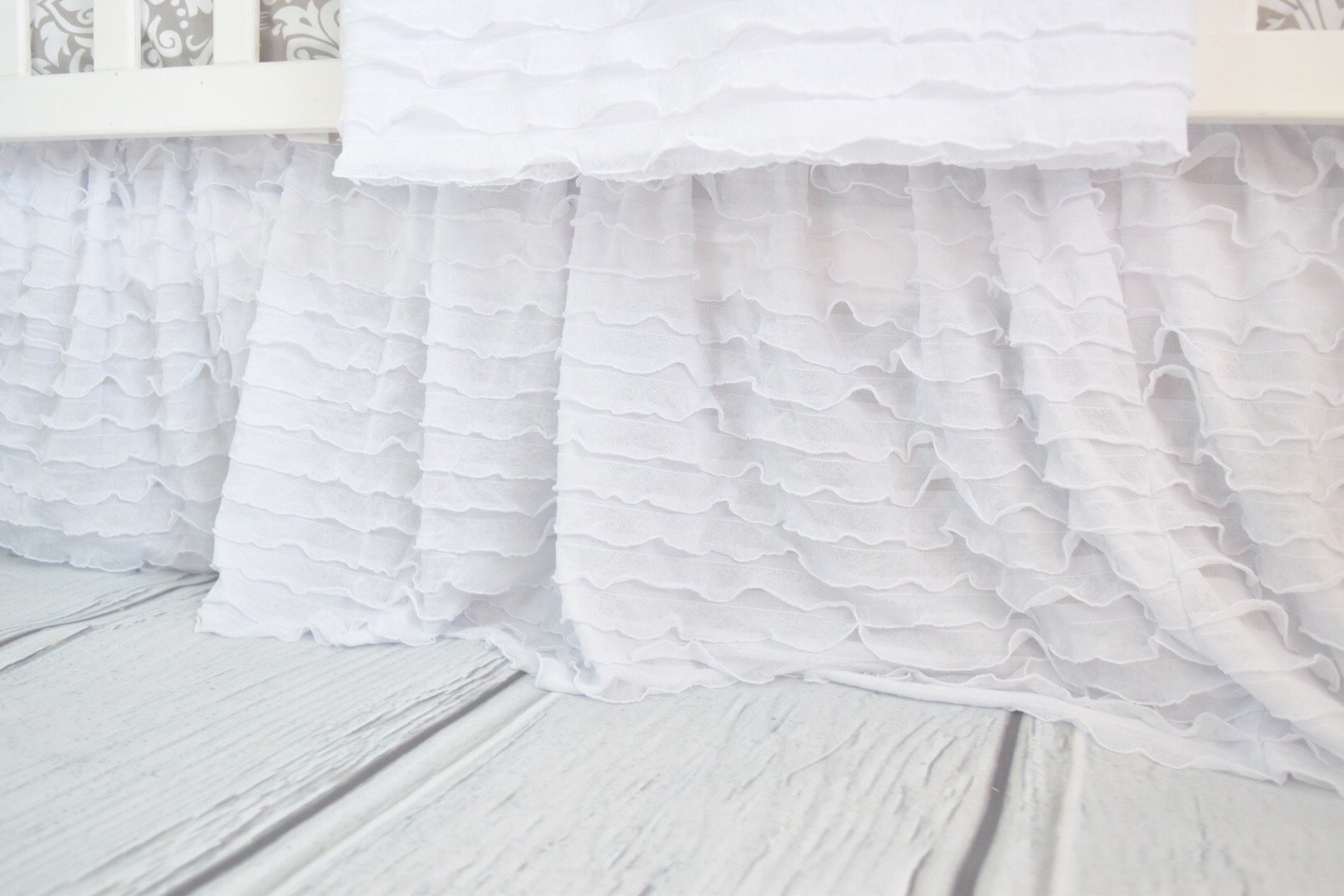 White Crib Skirt for Baby Girl Nursery Bedding Dust Ruffle by A Vision to Remember