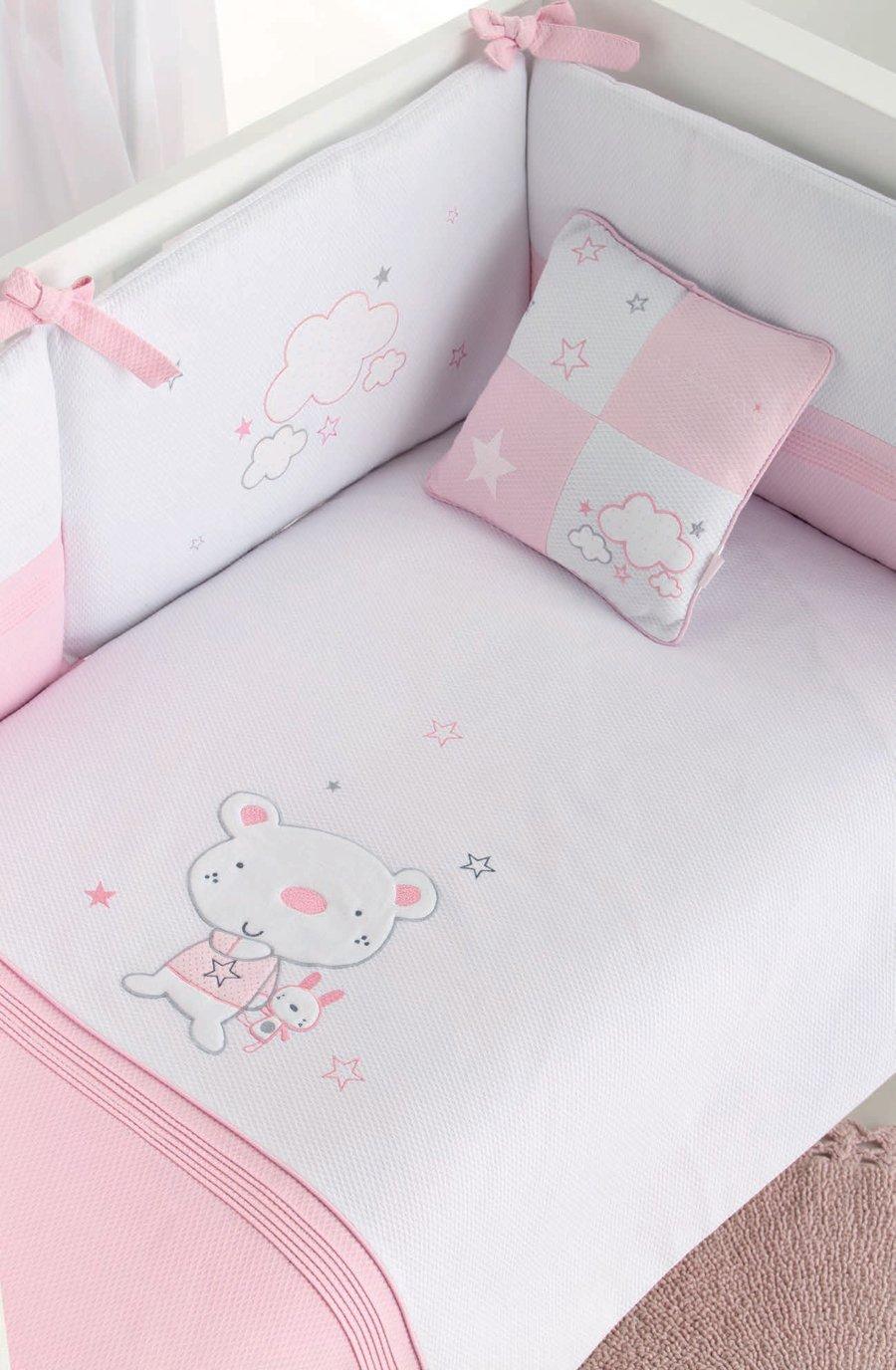 pirulos 21013120–Bettbezug, Displayschutzfolie und Kissen mit Motiv Bär Star, 62x 125cm, weiß und rosa
